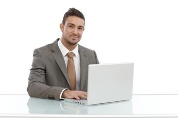 Portrait of working businessman