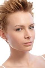 Closeup portrait of short hair woman