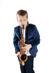 Young boy playing the sax
