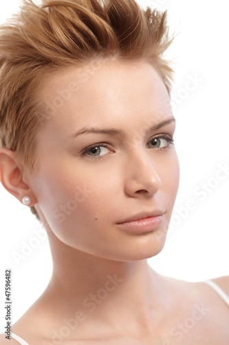 Closeup portrait of short hair woman