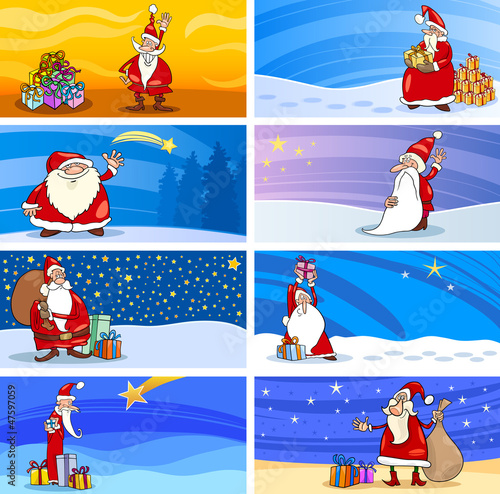 Cartoon Greeting Cards with Santa Claus