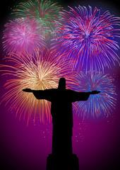 Happy New Year fireworks in Rio Brazil