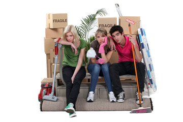 Tired friends on moving day