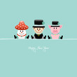 Sitting Fly Agaric, Chimney Sweep & Pig Retro