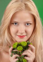 Girl with green chrysanthemum