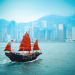 traditional wooden sailboat sailing in victoria harbor - 47598669