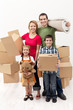 Family with two kids moving to a new house
