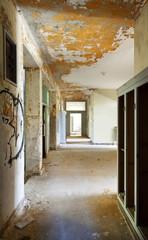 abandoned building, long corridor