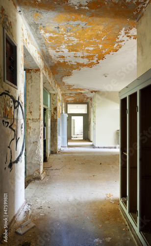 abandoned building, long corridor