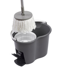 Cleaning container with mop spinning systems isolated on white b