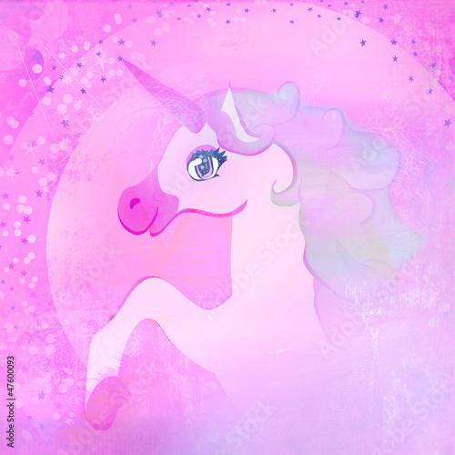 Poster Pony Illustration of beautiful pink Unicorn.
