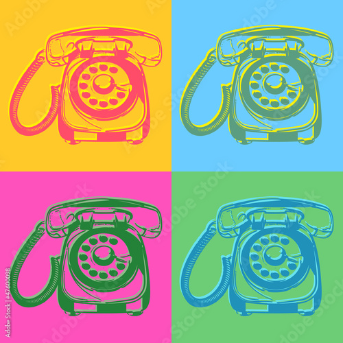 Pop art style retro phones