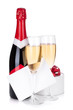 Champagne bottle, glasses and gift card