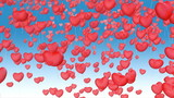 red balloons in shape of heart fly away