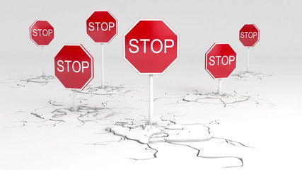 Caution! Stop sign animation. Two versions - depth of field