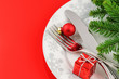 Christmas menu concept on red background