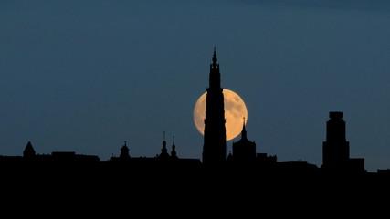Belgium Antwerpen cityscape moonrise