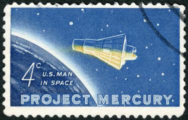 "USA - 1962: shows ""Friendship 7"" Capsule and Globe"