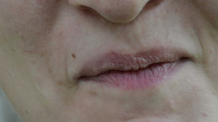 Closeup woman face kisser eat diet healthy blackberry smile