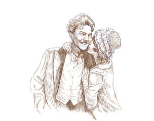 happy kiss - hand drawing
