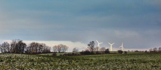 Wind turbines in the Danish contryside