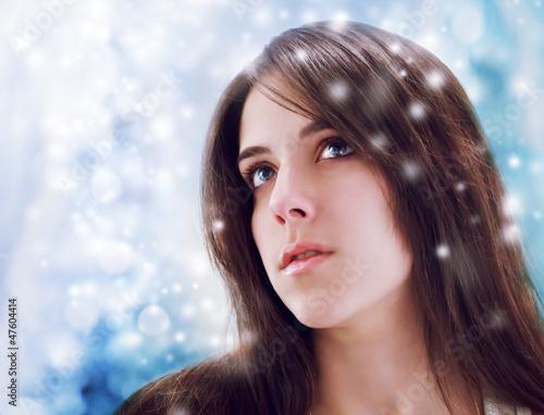 Young Woman Looking Upward