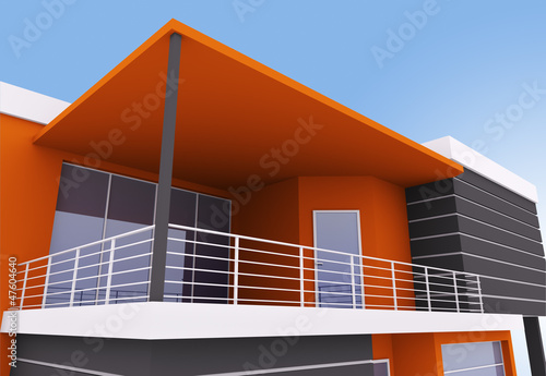 Exterior of modern house with terrace
