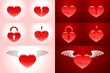 Heartshapes Set. Vector symbols on bright and dark backgrounds