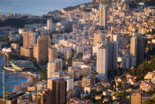 Principality of Monaco in the sunrise light