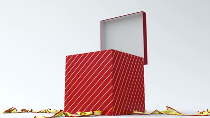 Red gift box with gold ribbon opening.