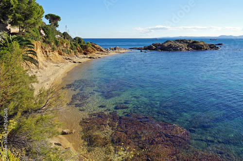 Mediterranean beach with clear waters in Costa Brava
