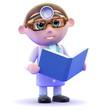 Doctor studies a textbook
