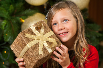 Sweet girl holding present at christmas tree.