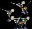 fresh cocktail set on the black