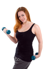 Woman Workout Dumbbells