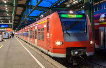 Suburban electric train at Stuttgart railway station. Germany