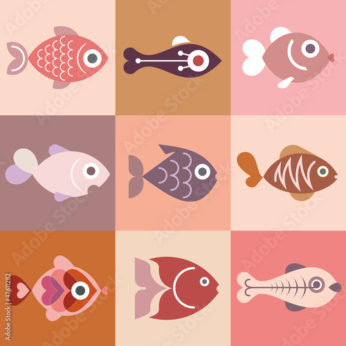 Aquarium fishes - vector illustration, isolated design elements.