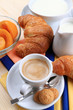 Latte,caffè espresso,cornetti epeschesciroppate con pasticcini