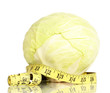 cabbage with measuring tape isolated on white