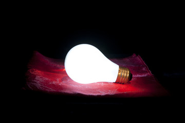 Lit bulb without power.