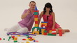 Man and woman building a toy castle