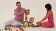 Two grown-ups building a toy castle