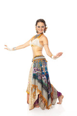 beautiful woman in the active arabic dance, Isolated