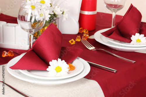 Elegant table setting in restaurant