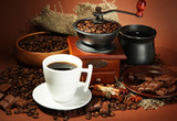 Fototapety cup of coffee, grinder, turk and coffee beans