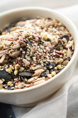 Assorted seeds in a bowl