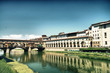 Medieval buildings on the bank of river Arno, Florence Lungarno,