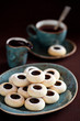 Homemade almond cookies with chocolate, selective focus