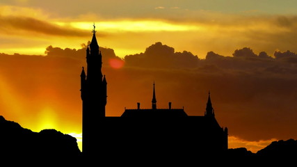 Nederland Peace palace Hague sunrise