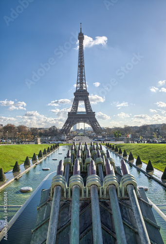 Paris, France Beautiful view of Eiffel Tower from Trocadero Gar